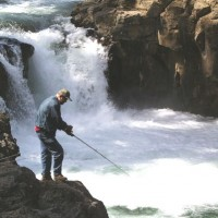 Fisherman at Lower McCloud Falls