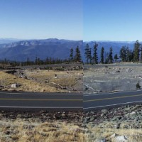 Panorama of hairpin turns, Mount Shasta